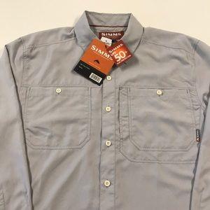🆕 SIMMS FISHING Mens LARGE Gray L/S Shirt